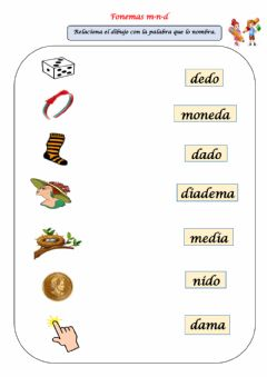 Interactive worksheet Palabras con fonemas m-n-d