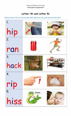 Ficha interactiva Letter Hh and Letter Rr