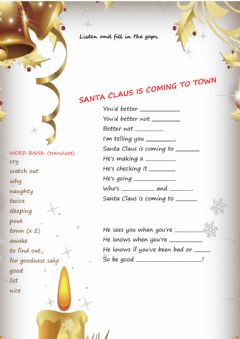 Interactive worksheet Santa claus is coming to town