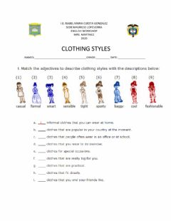 Interactive worksheet Clothing styles