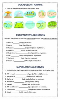Interactive worksheet 5th Grade Test Unit 6 - Nature, Comparative and Superlative adjectives