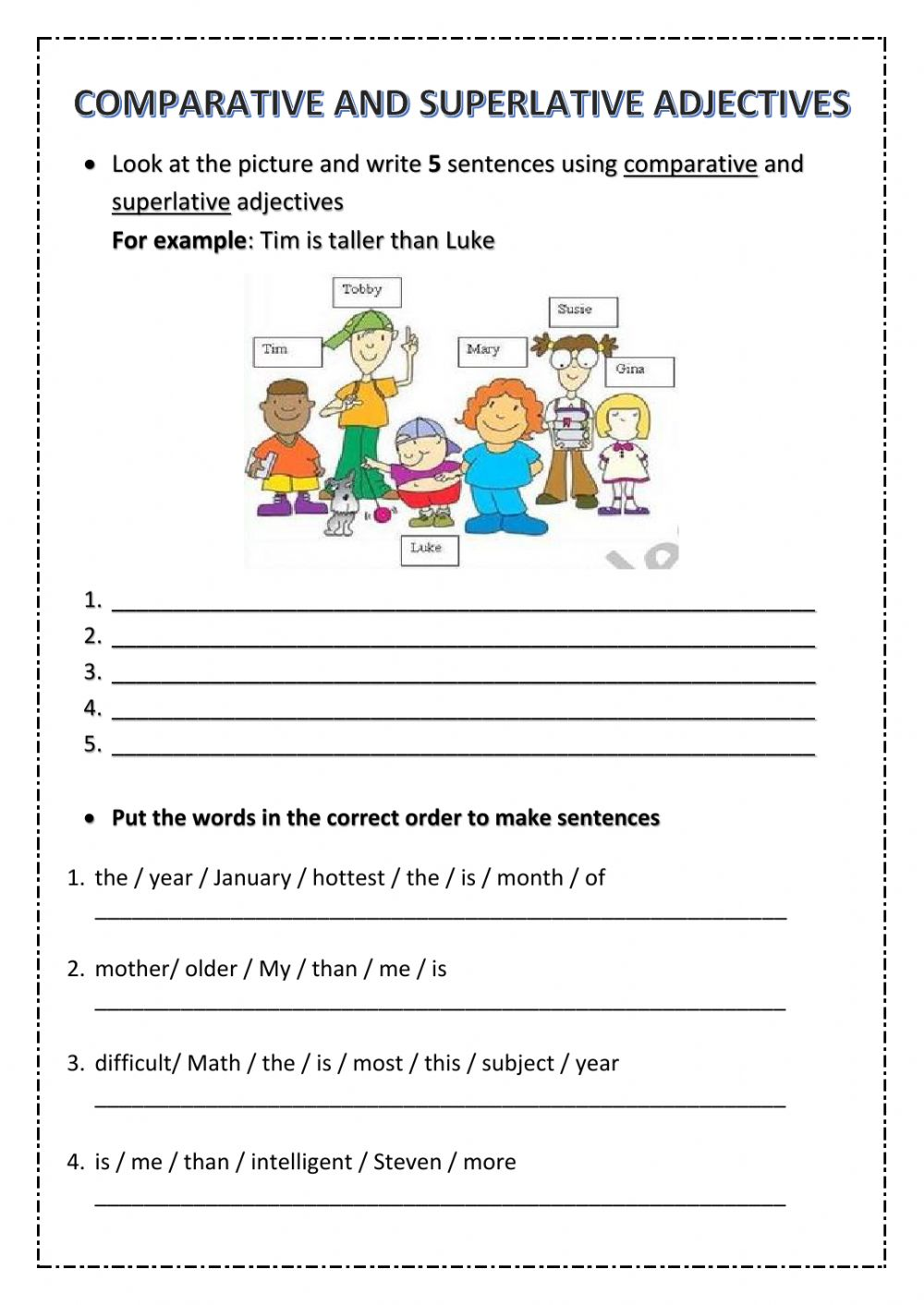 5th Grade Test Unit 6 Comparative And Superlative Adjectives Worksheet