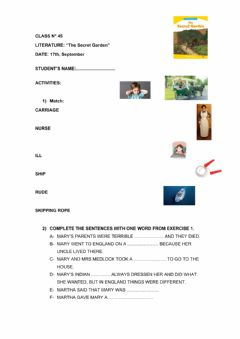 Interactive worksheet Secret garden