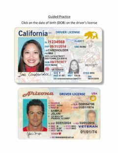 Ficha interactiva Guided Practice: DOB on Driver's License