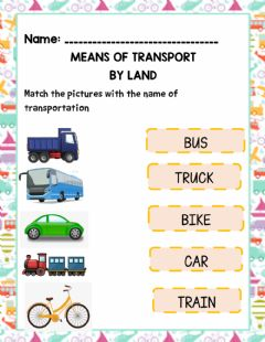 Interactive worksheet Means of Transportation by Land