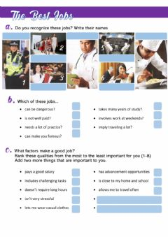 Interactive worksheet The best jobs in the world