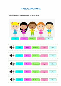 Interactive worksheet Physical appearance