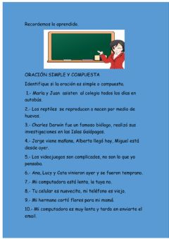 Interactive worksheet Oración simple y compuesta