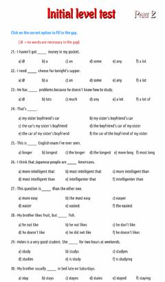 Interactive worksheet Initial level test - part 2