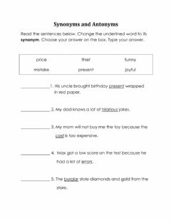 Interactive worksheet Synonyms and Antonyms
