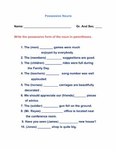 Ficha interactiva Possessive Nouns