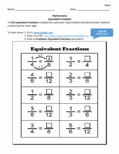 Interactive worksheet Equivalent Fractions