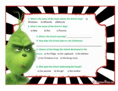 Interactive worksheet How the Grinch Stole Christmas