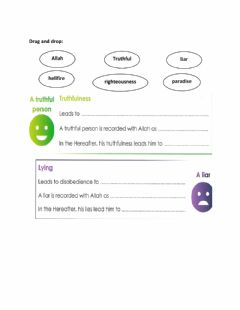 Interactive worksheet Hadith about truthfulness
