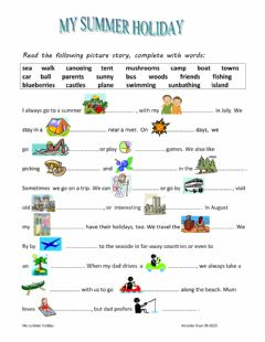 Interactive worksheet my summer holiday