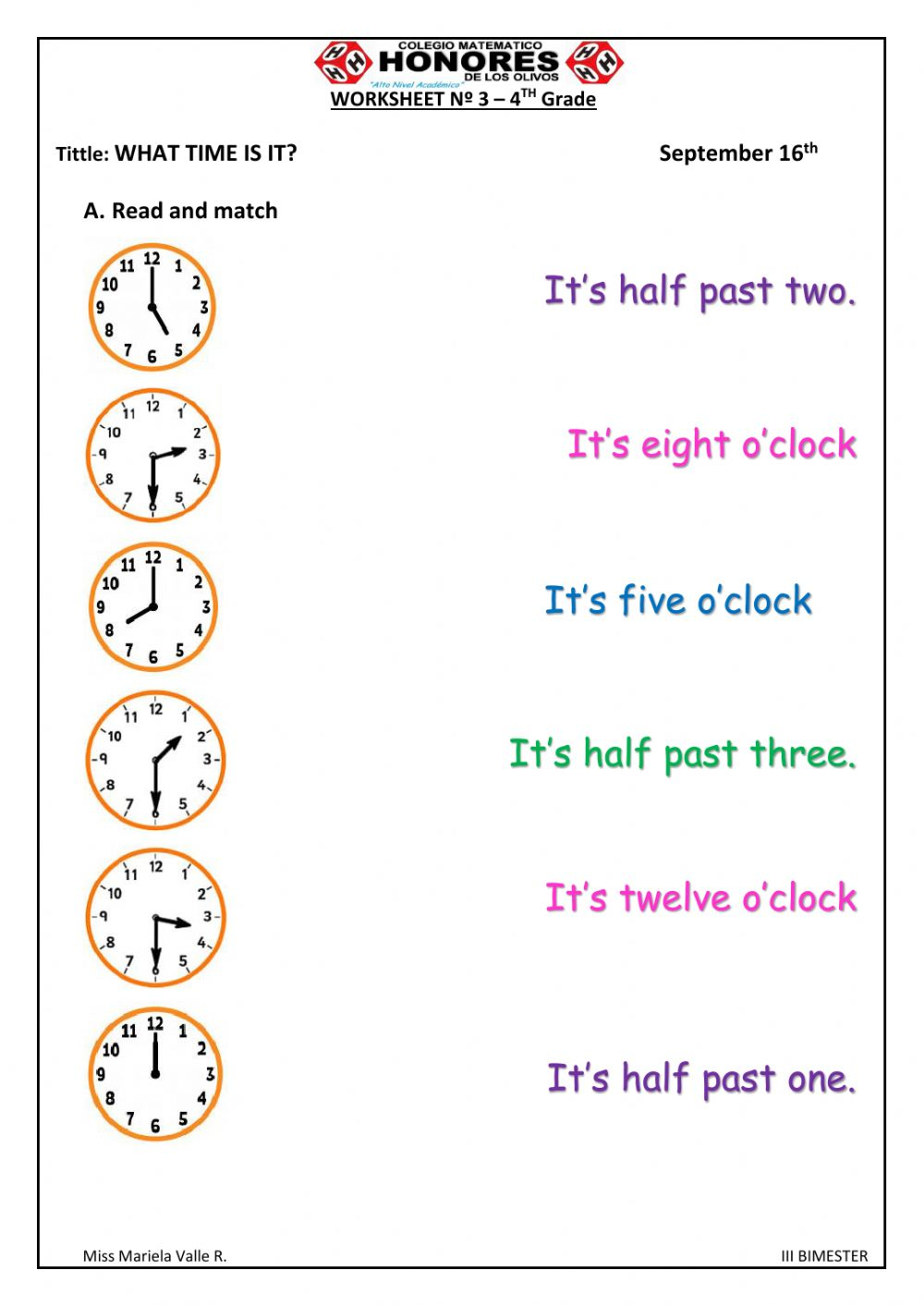 The time activity for 20rd grade