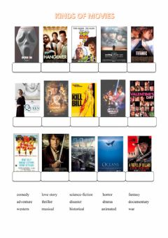 Interactive worksheet Kinds of movies