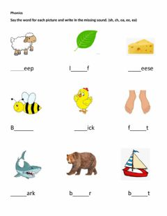 Interactive worksheet Missing sound in Phonics