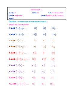 Interactive worksheet Addition of fraction