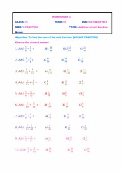Interactive worksheet Addition of unit fraction