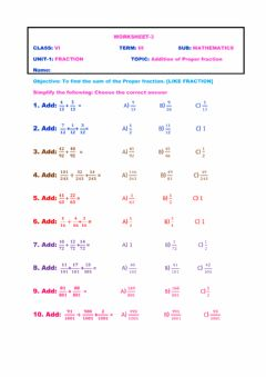 Interactive worksheet Addition of like fraction