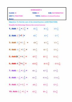 Interactive worksheet Addition of mixed fraction