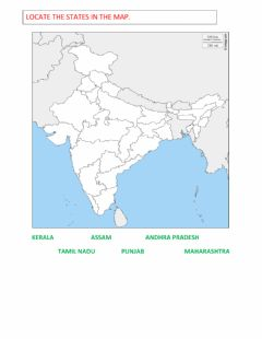Interactive worksheet MAP OF INDIA