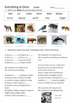 Interactive worksheet Song: everything at once