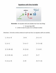 Ficha interactiva Equations with One Variable