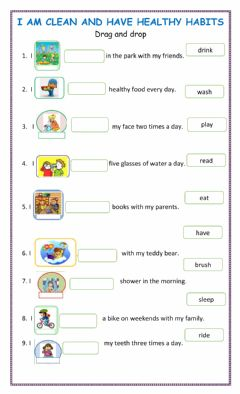 Interactive worksheet Cleanliness and healthy habits