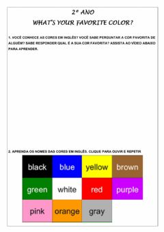 Interactive worksheet 2º ano - what's your favorite color?