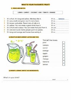 Interactive worksheet What's your favorite fruit?