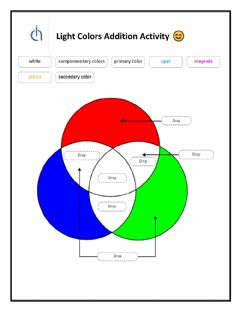 Interactive worksheet Light colors addition