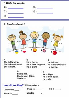 Interactive worksheet Where are they from?