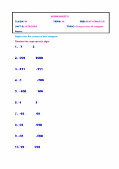 Interactive worksheet Integers