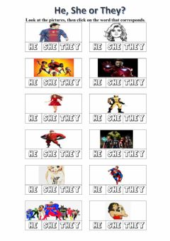 Interactive worksheet He, she or they?