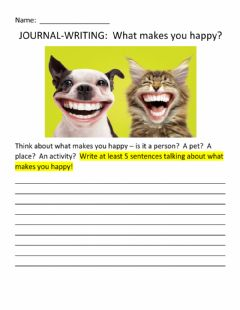 Ficha interactiva JOURNAL-WRITING:  What Makes You Happy?
