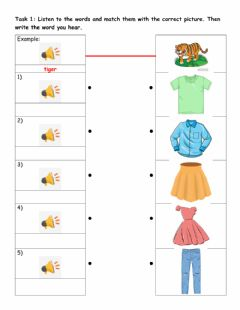 Ficha interactiva Starters practice: Clothes vocabulary - Reading part 4