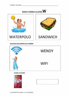 Interactive worksheet LETRA W