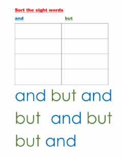 Ficha interactiva Sight word sort and, but