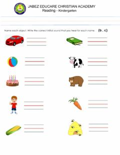 Interactive worksheet Letter b and c