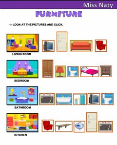 Interactive worksheet Furniture Around the house
