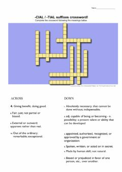 Interactive worksheet -cial - -tial suffixes crossword