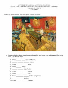 "Interactive worksheet ""The night café by Vincent Van Gogh"""