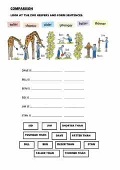 Interactive worksheet Comparative Adjectives - Animals