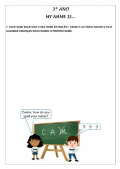 Ficha interactiva 3º ano - My name is...