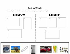 Interactive worksheet Sort by weight