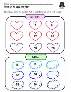 Interactive worksheet Numbers Before & After
