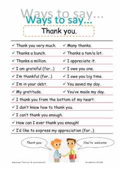 Interactive worksheet ways to say thanks and welcome