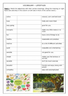 Interactive worksheet Vocabulary-Lifestyles